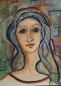 foto of mona lisa  - a whimsical watercolor capturing the imaginary subject - JPG