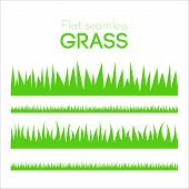 Постер, плакат: Vector Flat Grass Set Isolated On White Background