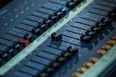 Постер, плакат: Audio Sound Mixer Closeup