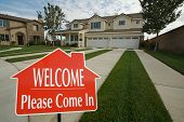 Welcome, Please Come In Real Estate Sign with new home in the background. poster