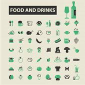 Постер, плакат: food and drinks icons food and drinks logo food and drinks vector food and drinks flat illustrati
