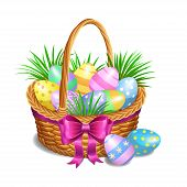 Постер, плакат: Easter Basket With Color Painted Easter Eggs Isolated On White Background Easter Eggs In Basket