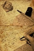 stock photo of poetry  - hand with old writing and a rose  - JPG