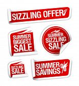 Sale and savings stickers set, Summer sizzling offers. poster
