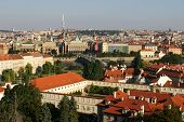 Skyline shot of the city of Prague in Europe poster