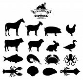 Постер, плакат: Vector Farm Animals And Seafood Silhouettes Collection