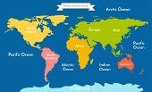 Постер, плакат: World map Vector illustration with the inscription of the oceans and continents