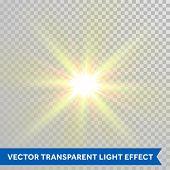 Vector defocused shining sun ray of light. Twinkling sunlight spark. Bright glaring light flash with poster