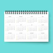 Постер, плакат: Realistic calendar Calendar template in English 2016 Ready calendars