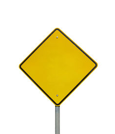 foto of road sign  - empty yellow warning road sign  - JPG