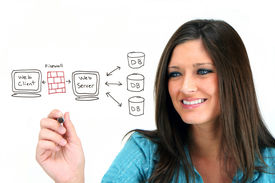 stock photo of sharpie  - Young woman designing her website - JPG