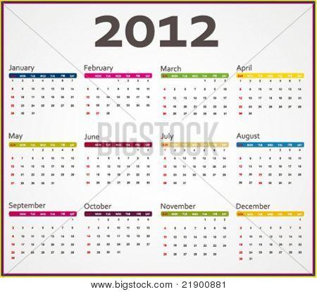 2012 calendar. Vector