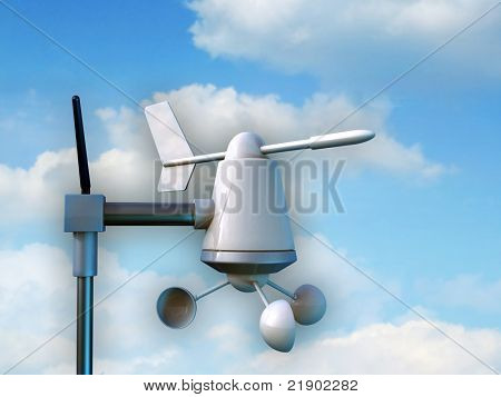 Wireless anemometer measuring intensity and direction of winds. Digital illustration.