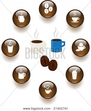 coffee and hot beverages illustrations and buttons set