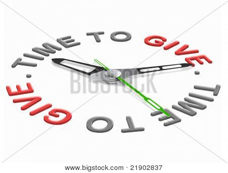 Time to give charity giving financial support and helping the poor fundraising isolated clock indicating  be generous and donate donation to a foundation fund raising. Raise money for charity share.