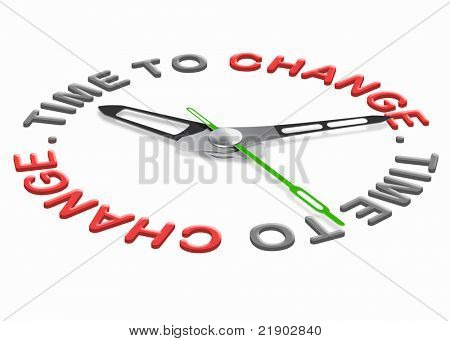 Time for change improve for the better evolve and innovate clock indicating improvement changing the world or your life