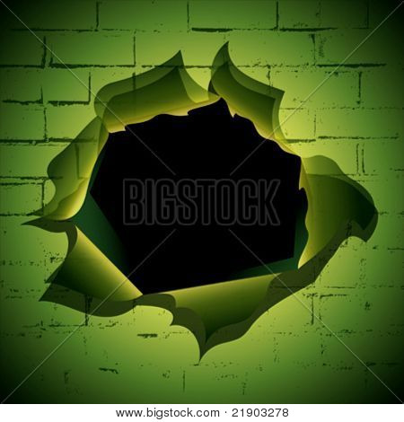 Torn hole at the brick wall background