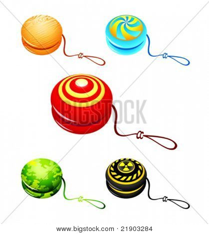 Colorful yo-yo with custom designs isolated