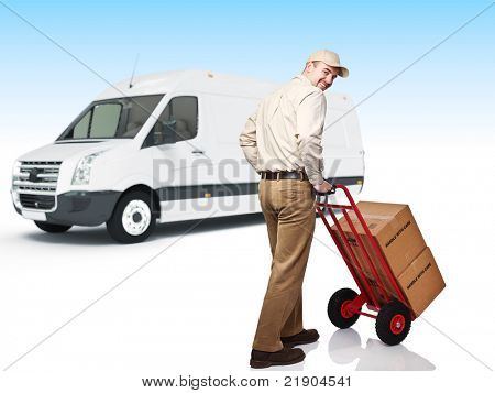 smiling caucasian worker in uniform with handtruck