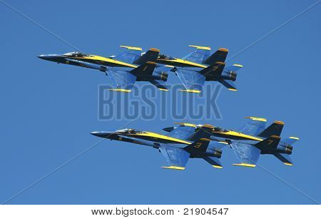 SAN FRANCISCO, CALIFORNIA - OCTOBER 6: US Marine Corps Blue Angels demonstration squadron on F18 Hornet jet fighters in the sky over San Francisco during sunday airshow on October 6, 2007.
