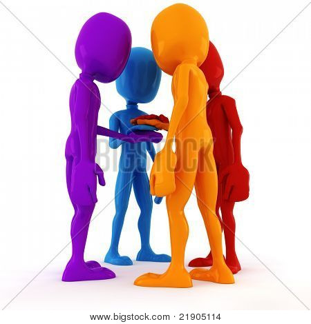 3d man team meeting