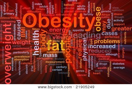 Background concept wordcloud illustration of obesity fat overweight glowing light