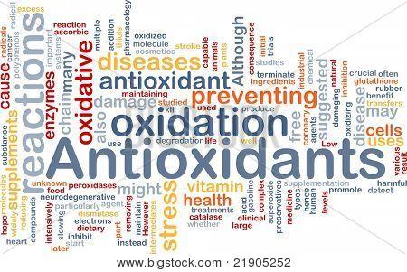 Hintergrund Konzept Wordcloud Abbildung der Antioxidantien Gesundheit Ernährung