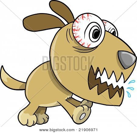 Crazy Insane Puppy Dog Vector Illustration