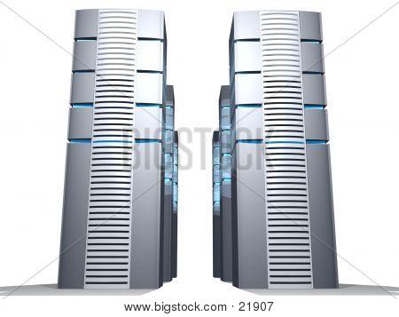 3d Servers In Grey