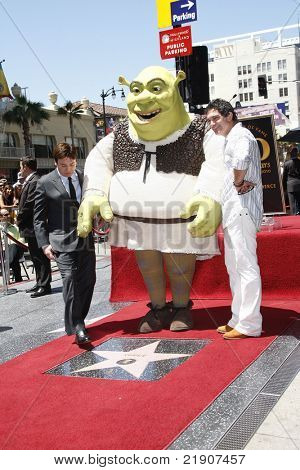 LOS ANGELES - MAY 20: Shrek; Antonio Banderas; Mike Myers at a ceremony where Shrek receives a star on the Hollywood Walk of Fame, Los Angeles, California on May 20, 2010
