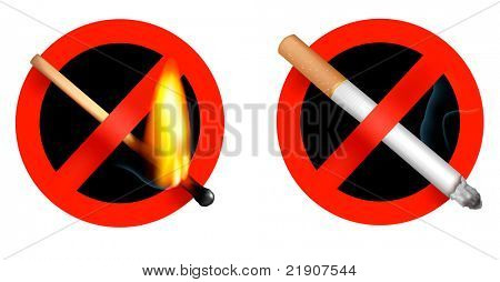 No smoking sign and no matchstick fire sign. Vector illustration.