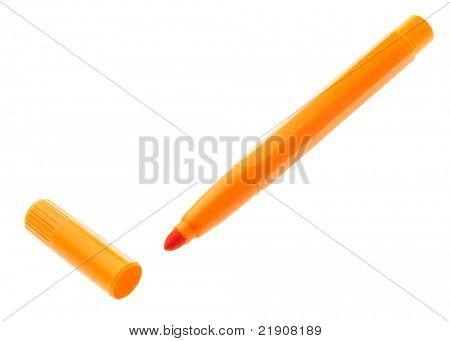 marcador laranja isolado no fundo branco