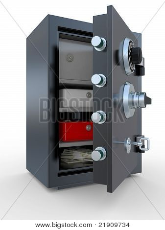 Opened Steel Safe With Money And Documents
