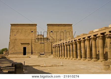 A yard at Philae Temple in Aswan, Egypt