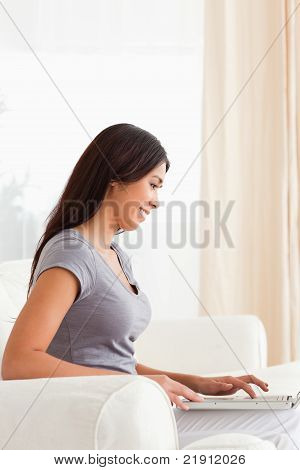 Smiling Woman Sitting On Sofa Working With Notebook
