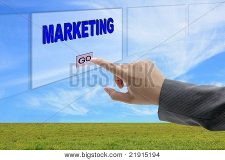 Man Hand Push Marketing