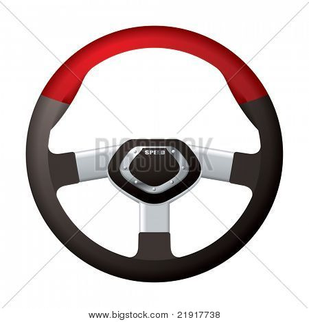 Red and black sports steering wheel with metal chrome detail