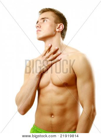 A throat pain of a  young muscular man isolated on white background