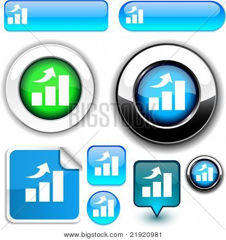 growth vector glossy icons. .