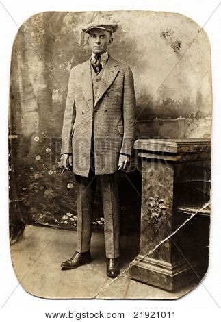 Vintage Man in Checked Suit