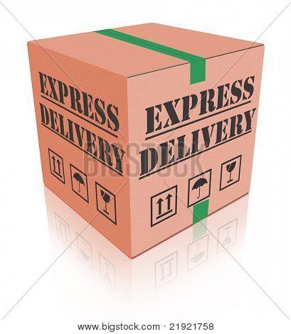 express delivery fast sending speed parcel posting cardboard box package shipment ship order