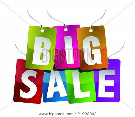 Big Sale Sign - White Letters on different color Backgrounds