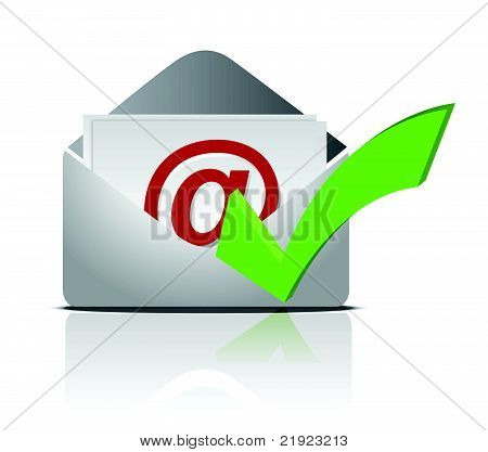E mail icon and validation illustration design