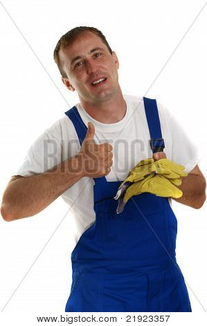 Craftsman At Work And Yellow Protective Gloves