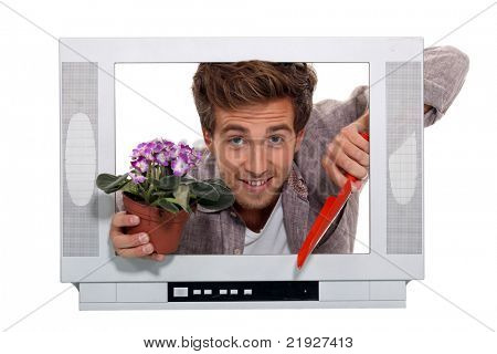 Concept shot showing gardening television programmes