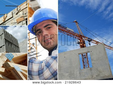 Photo-montage of construction industry