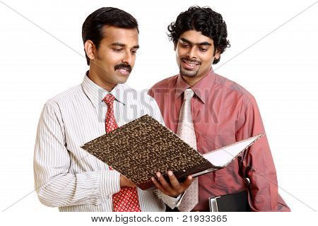 Two Indian business peoples with files