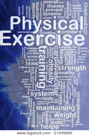 Background concept wordcloud illustration of physical exercise international