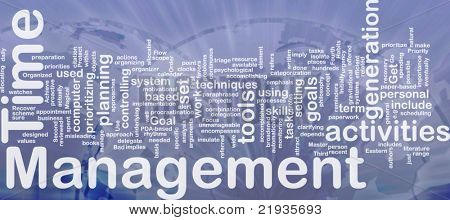 Background concept wordcloud illustration of time management international