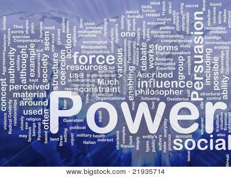 Background concept wordcloud illustration of power international